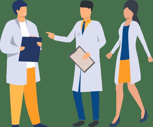 groupe de médecins en discussion